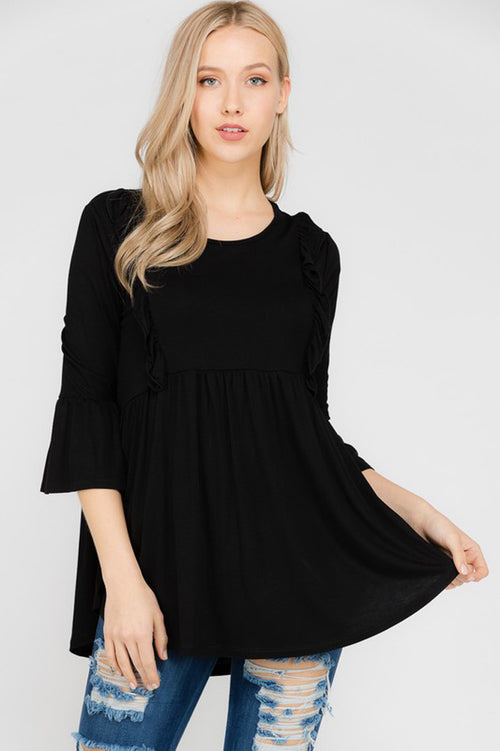 Reese Ruffle Tunic Top : Black