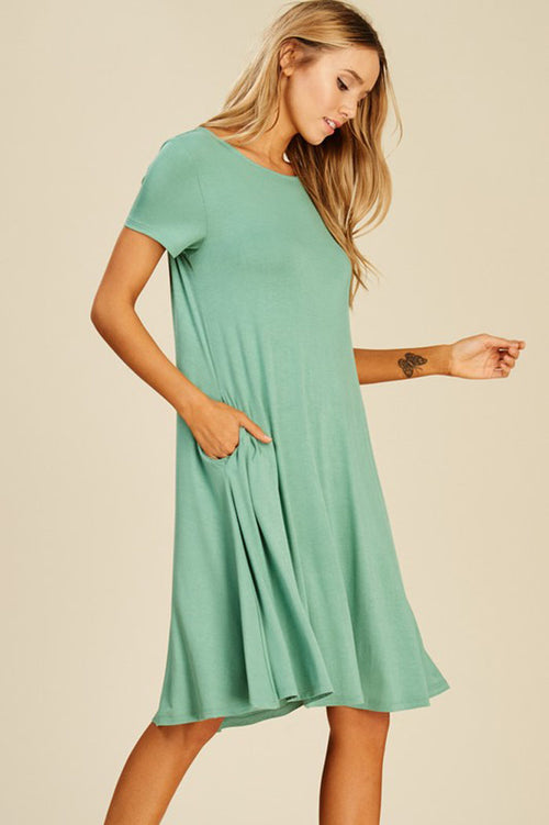 Lillian Solid Midi Dress : Sage