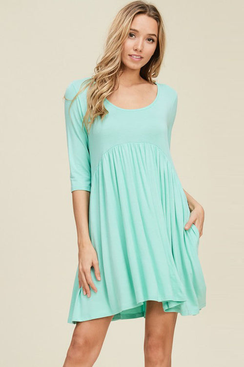 Piper Babydoll Solid Dress : Seafoam