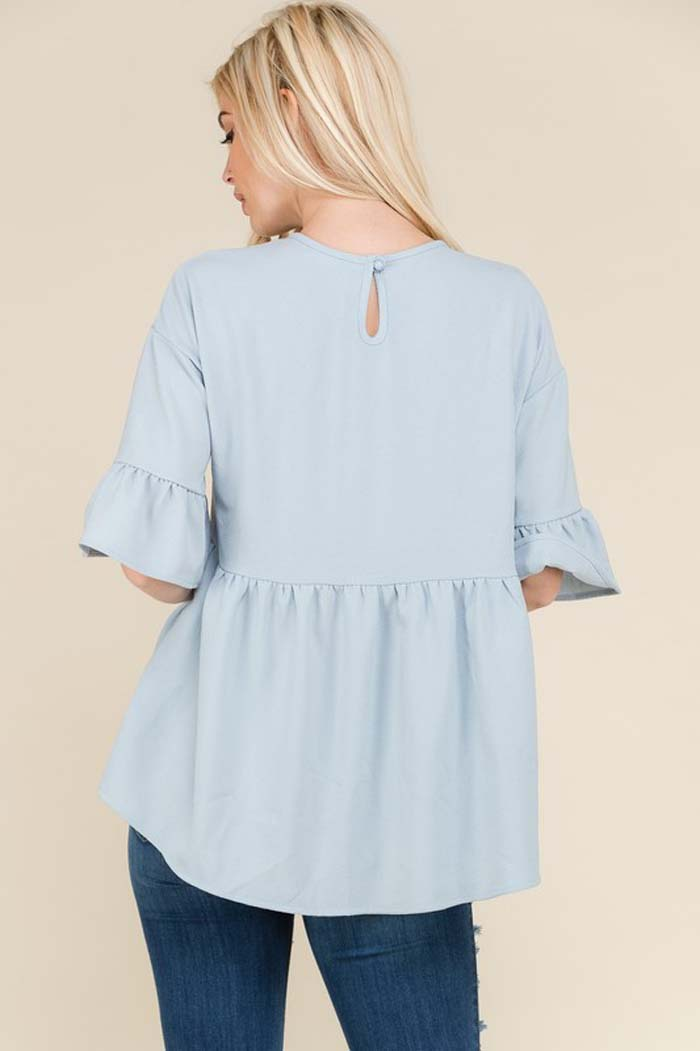 Alicia Ruffle Tunic Top : Light Blue