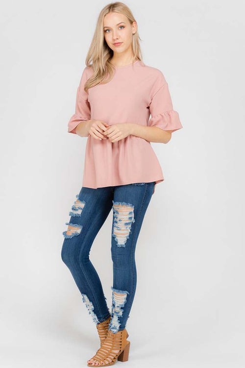 Alicia Ruffle Tunic Top : Mauve