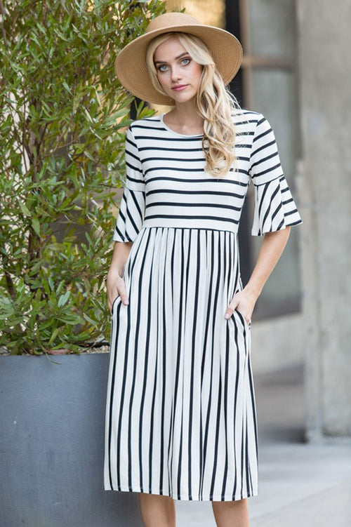 Ellie Stripe Midi Dress : Ivory/Black