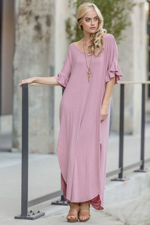 Sofia Loose Fit Maxi Dress : Mauve