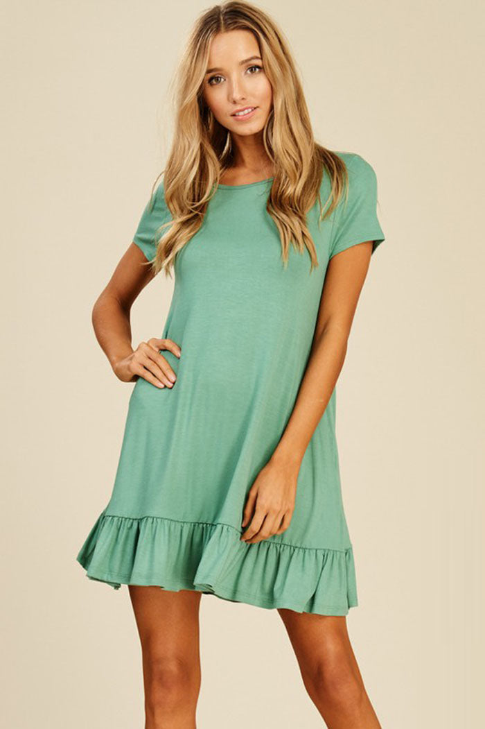 Gianna Ruffle Hem Dress : Sage