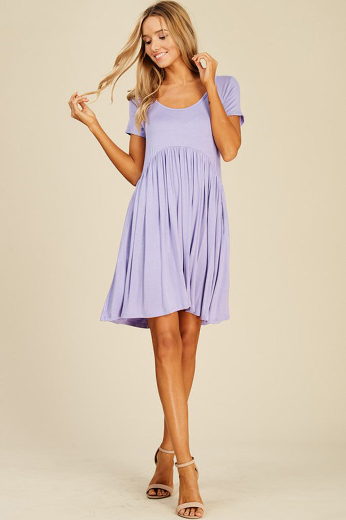 Joy Solid Swing Dress : Lavender
