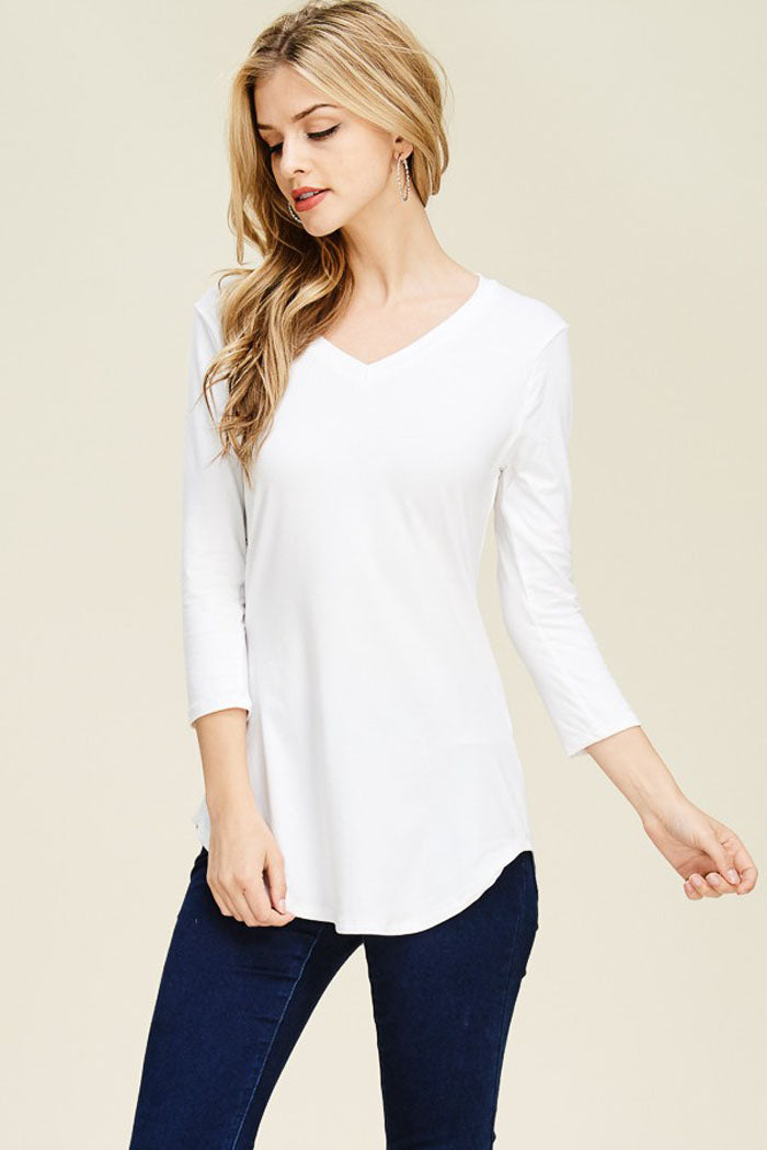 Marie Basic V-Neck Top : Black