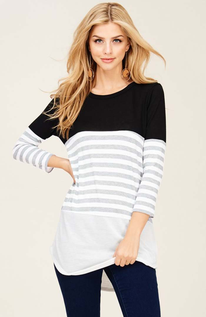 Maggie Contrast Tunic Top : Black/Ivory
