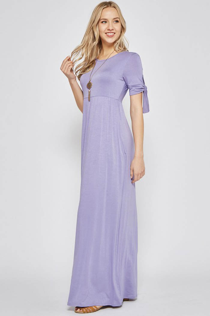 Nadia Tie Sleeve Maxi Dress : Lavender