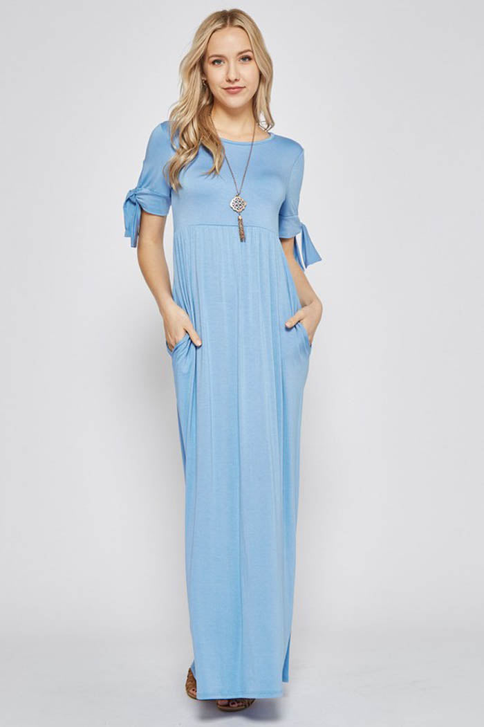 Nadia Tie Sleeve Maxi Dress : Dusty Blue
