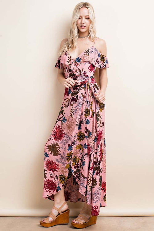 Rachel Wrap Floral Maxi Dress : Dusty Pink