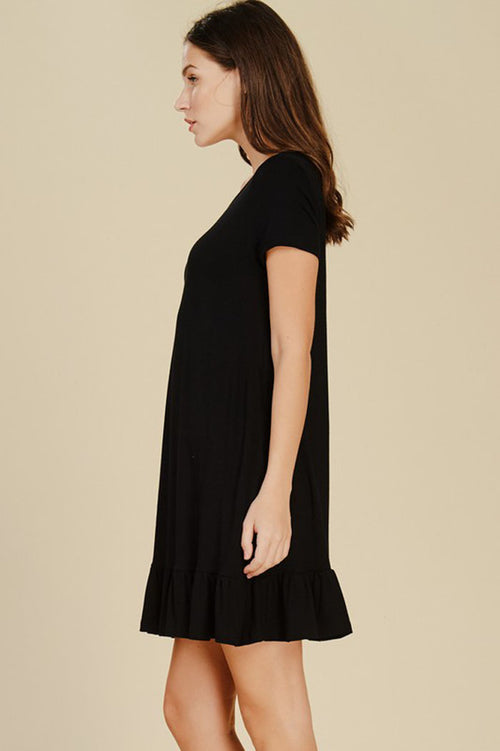 Gianna Ruffle Hem Dress : Black