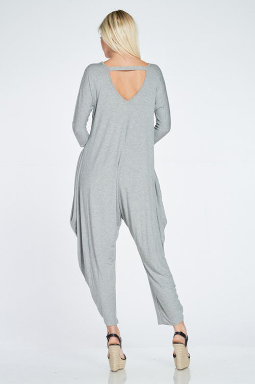 Olivia Harem Jumpsuits : Heather Grey