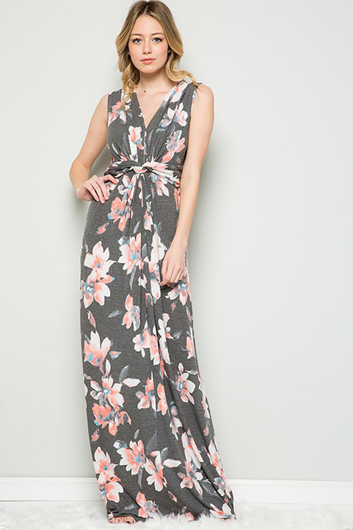 Courtney Front Knot Maxi Dress : Blush