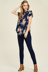 Emily Floral Curved Hem Top : Navy