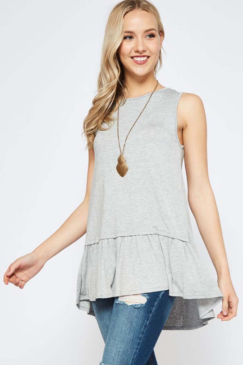Janet Ruffle Hem Top : Heather Grey