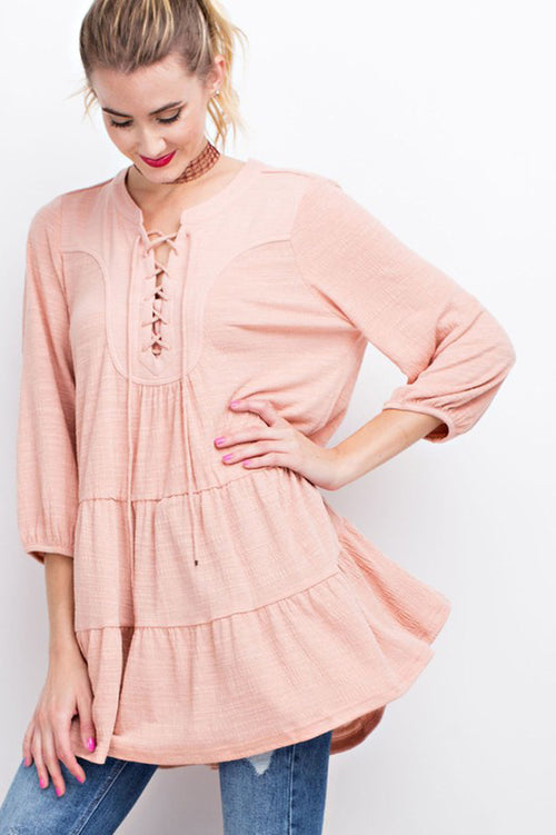 Lindsey Lace Up Soft Tunic : Faded Coral
