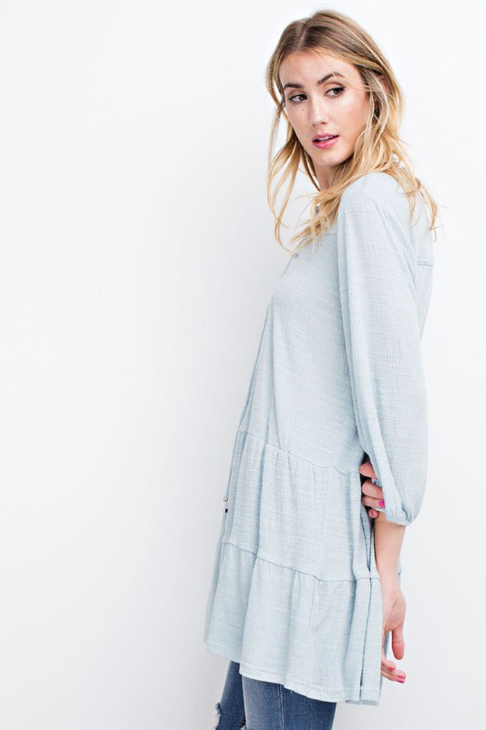 Lindsey Lace Up Soft Tunic : Faded Sage