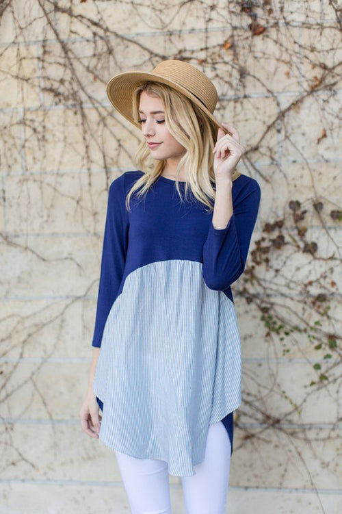 Sandy Stripe Contrast Tunic : Navy