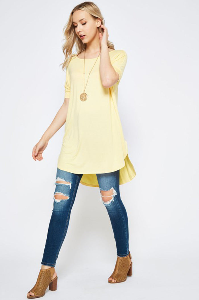 Leah Piko Tunic Top Plus : Banana