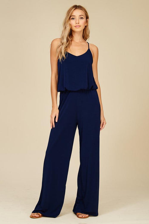 Renee Straight Leg Jumpsuits : Navy