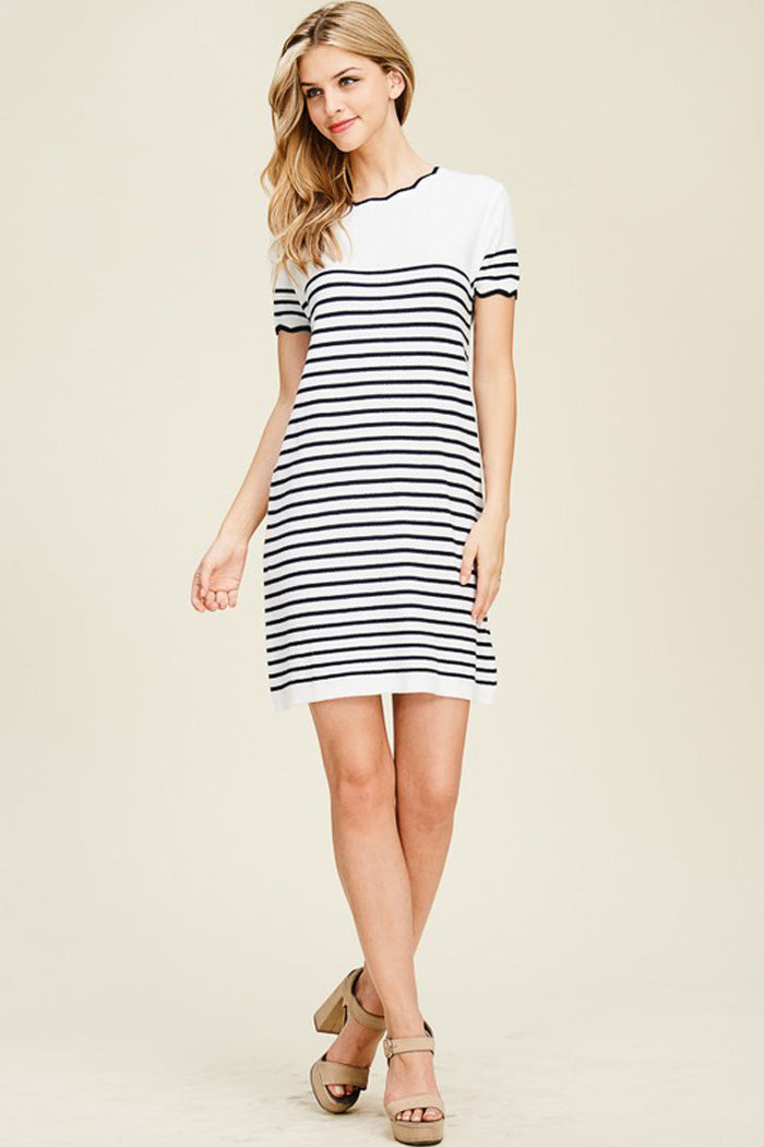 Rosie Scallop Stripe Dress : Navy
