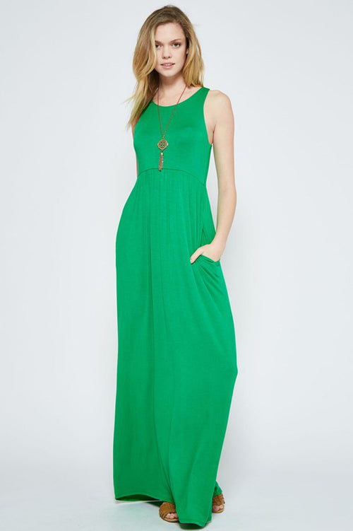 Solid Maxi Dress : Kelly Green