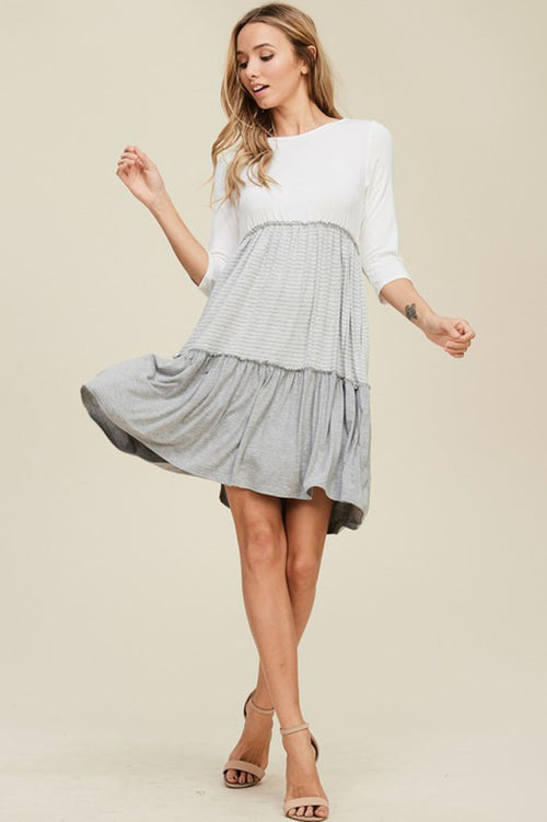 Autumn Layered Swing Dress : Ivory/Heather Grey