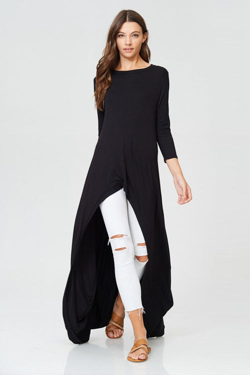 Nicole Hi-lo Tunic Top : Black