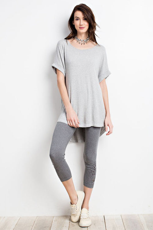 Brittany Basic Top : Heather Grey