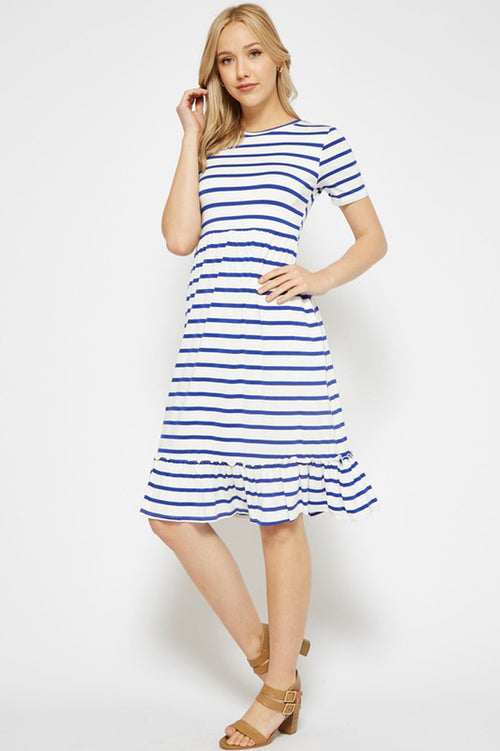Elise Stripe Midi Dress : Ivory/Royal