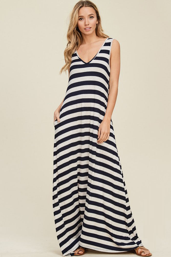 Esther Stripe Basic Maxi Dress : Coral/Off White