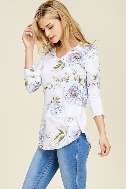 Gloria Bold Floral Top : Ivory