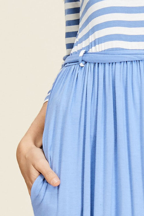 Melanie Contrast Maxi Dress : Chambray