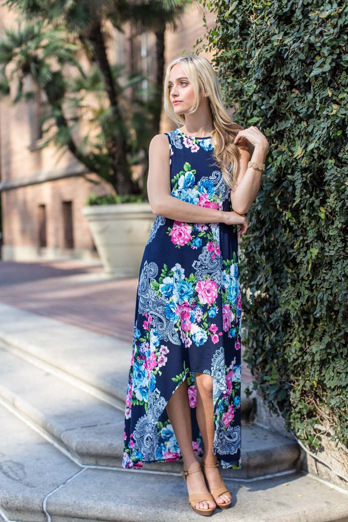 Jessie Open Front Maxi Dress : Navy