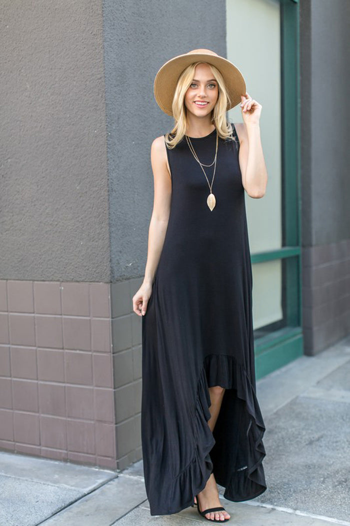 Mary Open Front Maxi Dress : Black