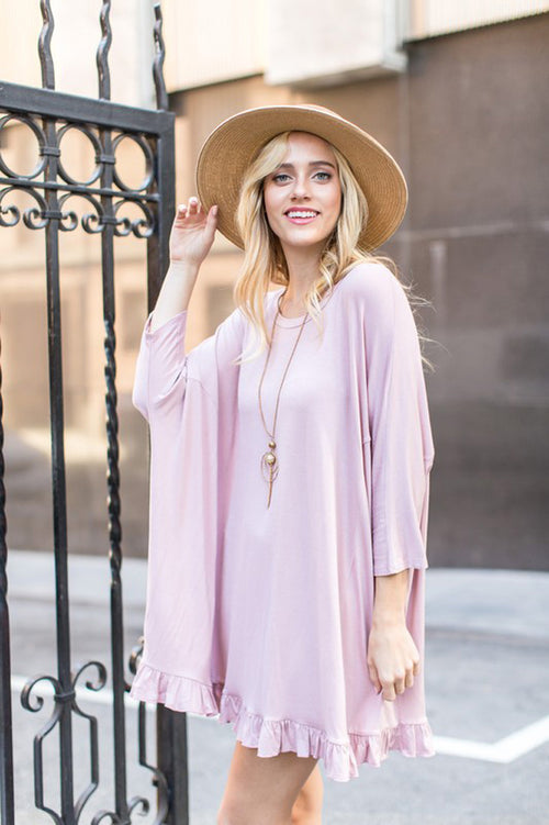 Megan Solid Ruffle Tunic : Dusty Pink