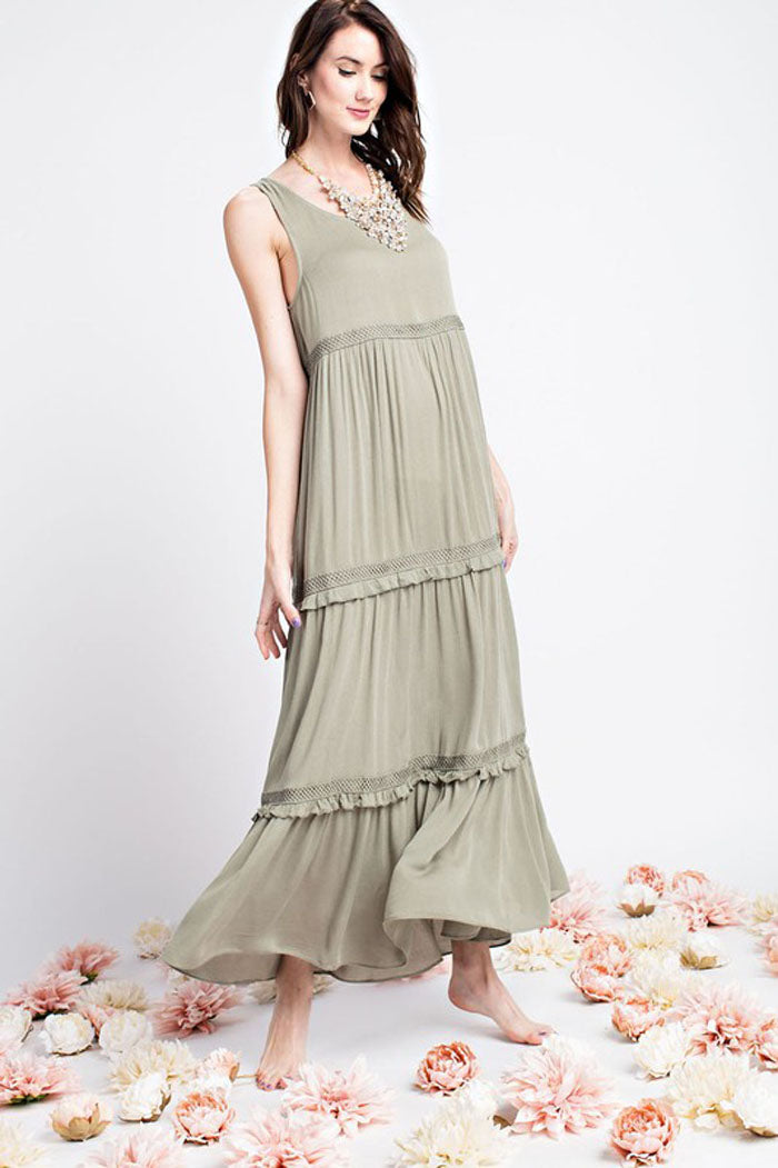 Helen Flowy Maxi Dress : Olive Grey