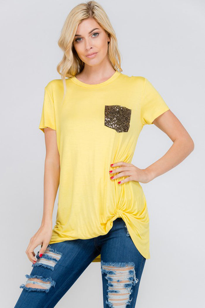Eva Sequins Pocket Top : Yellow