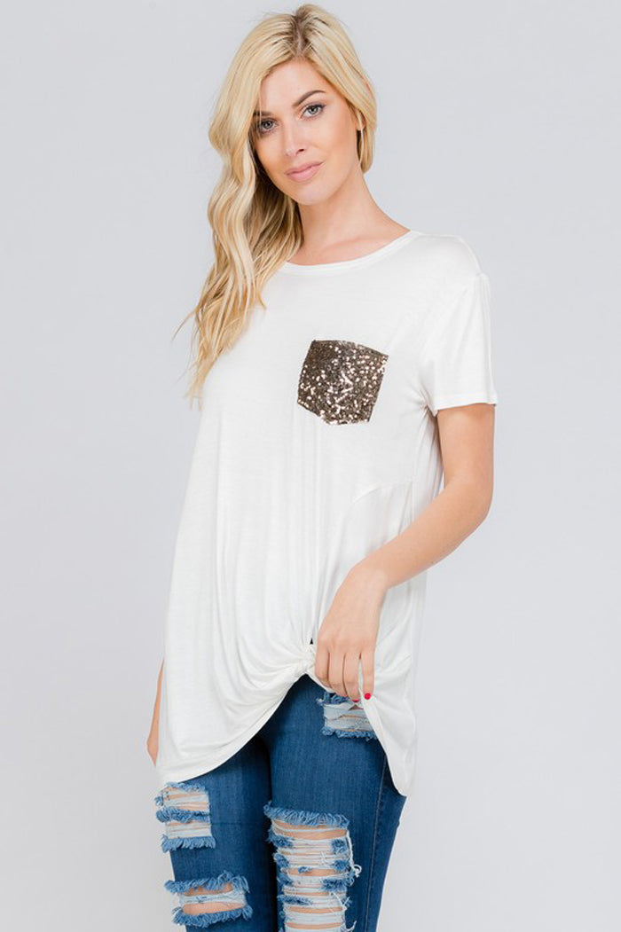 Eva Sequins Pocket Top : Ivory