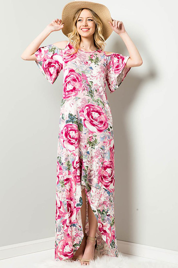 Mary Floral Garden Maxi Dress : Mauve