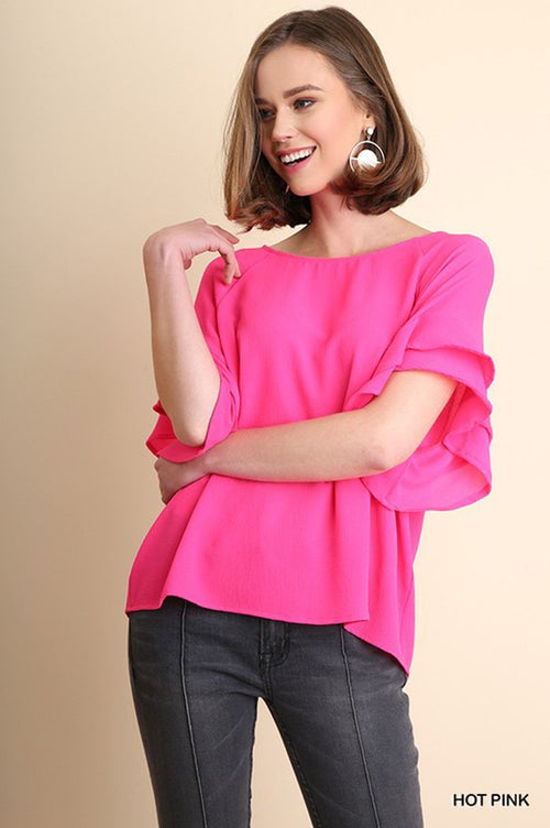 Vivian Ruffle Blouse : Hot Pink
