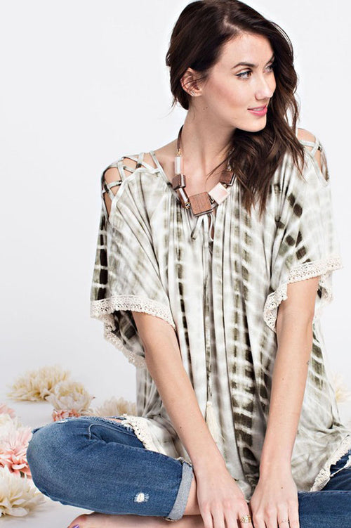 Claire Tie Dye Top : Faded Olive