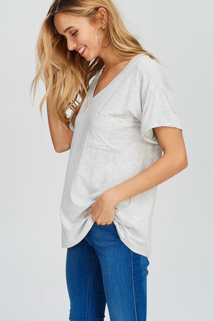 Hailey Essential Solid Top : Light Grey