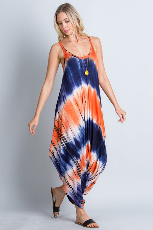 Brooke Tie Dye Comfy Jumpsuits : Navy/Orange