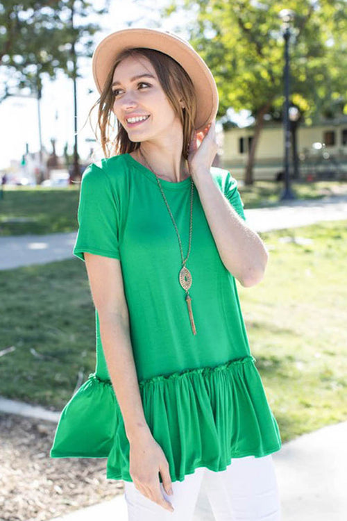 Jasmine Ruffle Tunic Top : Kelly Green