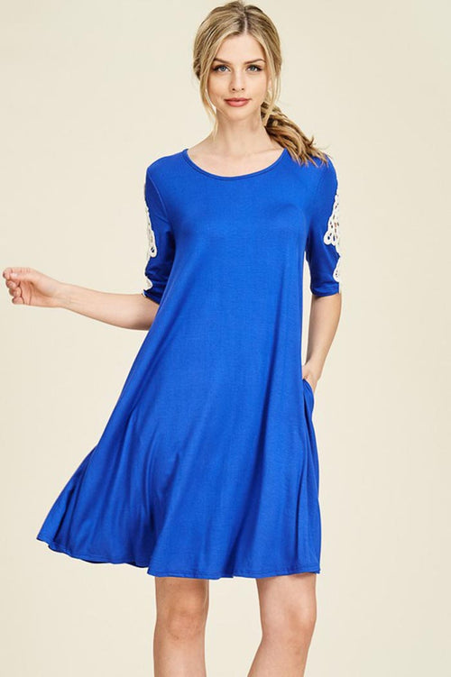 Julia Crochet Swing Dress : Royal Blue