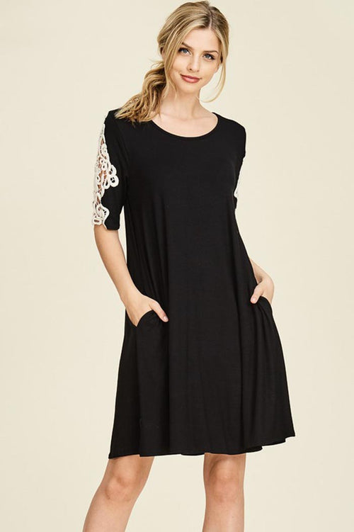 Julia Crochet Swing Dress : Black
