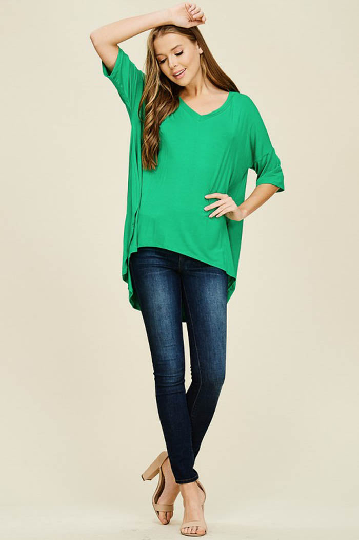 Jessica Oversized Tunic Top : Kelly Green