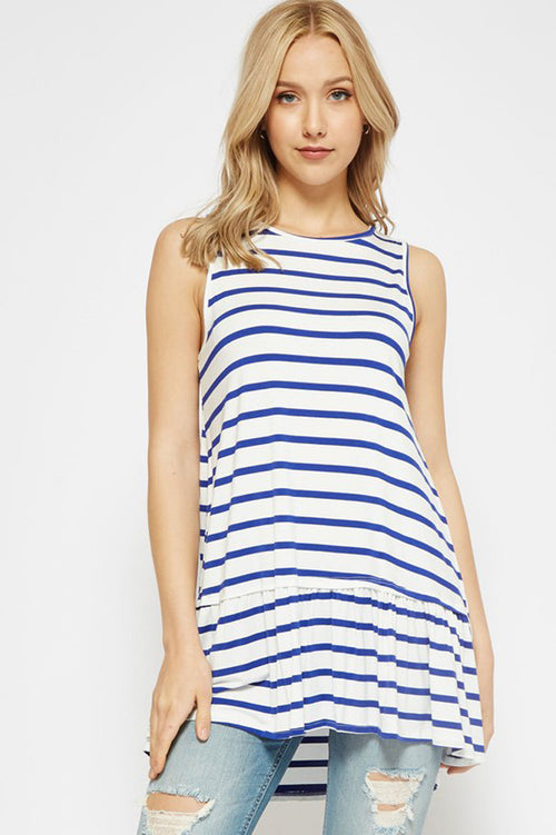 Lydia Stripe Tunic Top : Ivory/Royal