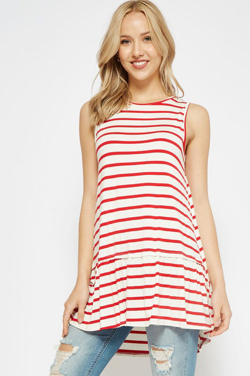 Lydia Stripe Tunic Top : Ivory/Red